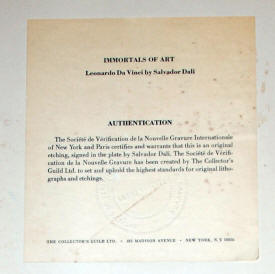 Certificate of Authenticity for Salvador Dali Original Etching of Leonardo da Vinci, this COA is located on the back (reverse) side of the framed artwork.