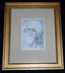 Fine Art for Sale Original Etching by Salvador Dali Immortals of Art Leonardo da Vinci 1968 Signed in Plate with COA shown gilded frame