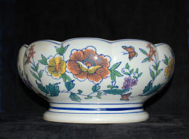 FOR SALE Italian Renaissance Ceramic Bowl 10 Lobed Painted Glazed Earthenware Bowl Flowers Butterflies Hand Painted Design Signed L