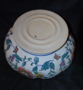 Italian Renaissance Ceramic Bowl 10 Lobed Painted Glazed Earthenware Bowl Flowers Butterflies Hand Painted Design Signed L unglazed underfoot bowl VERY RARE Excellent Condition