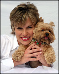 Mary Harmon and her Yorkie dog is shown