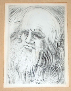 Salvador Dali Rare Original Etching Leonardo da Vinci, shown here is a close up of the etching itself.